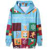 Color Block Christmas Cartoon Print Pullover Hoodie - COLORMIX