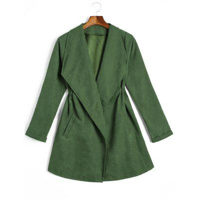 Belted Skirted Curled Sleeve Coat