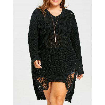 Plus Size Ripped Chunky High Low Sweater