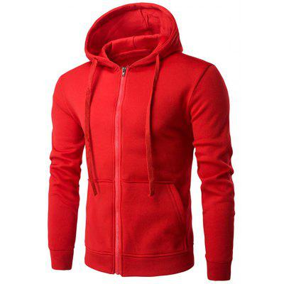 Kangaroo Pocket Full Zip Flocking Hoodie