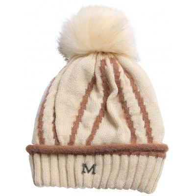 Metal M Embellished Striped Pattern Thicken Knitted Beanie