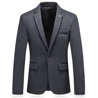 Lapel Crown Embellished Woolen Blazer