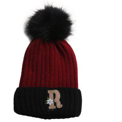 Outdoor Letter R Embellished Crochet Knitted Pom Beanie