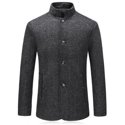 Stand Collar Single Breasted Padded Woolen Blazer