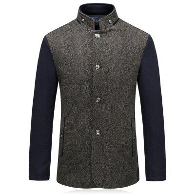 Color Block Single Breasted Padded Woolen Blazer