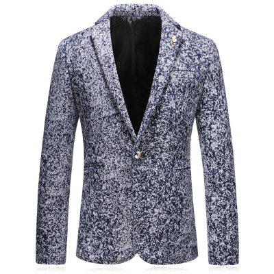 Lapel Leaf Embellished Edging Woolen Blazer