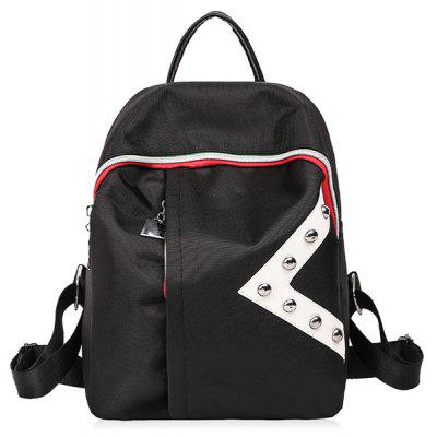 Studs Color Block Nylon Backpack