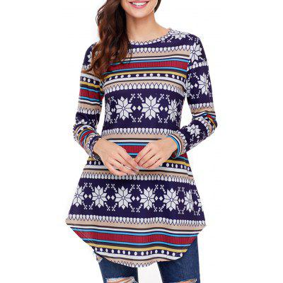 Christmas Long Sleeve Print Tunic Top
