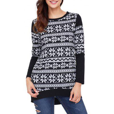 Christmas Long Sleeve High Low Print Top