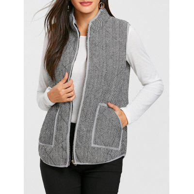Famale Front Pocket Tweed Quilted Waistcoat Slim Fitted Blazer Design Style for Women