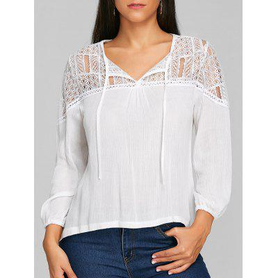 High Low Lace Panel Tunic Blouse