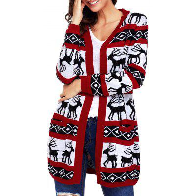 Christmas Deer Jacquard Cardigan with Pockets