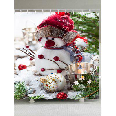 Snowman with Hat Pattern Shower Curtain