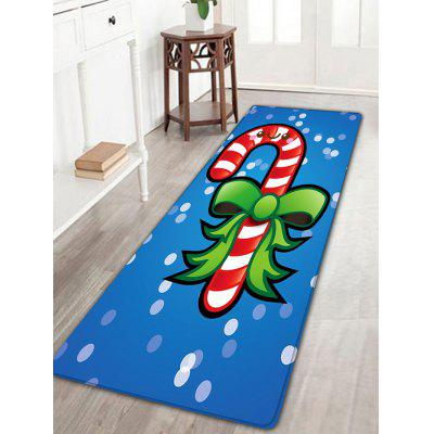 Smile Candy Stick Pattern Skidproof Christmas Long Flannel Bath Rug