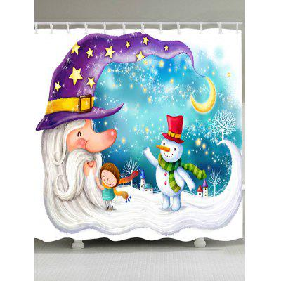 Christmas Moon Old Man Snowman Pattern Shower Curtain