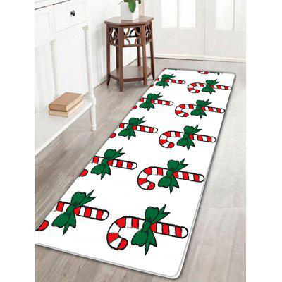 Christmas Candy Stick Pattern Skidproof Long Flannel Bath Rug