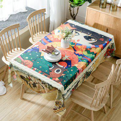 Christmas Cartoon Forest Print Waterproof Fabric Tablecloth