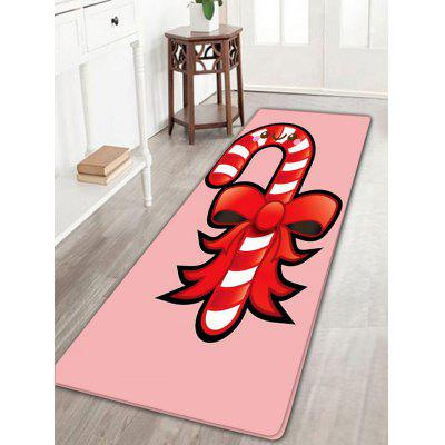 Candy Bar with Bowknot Pattern Skidproof Christmas Long Flannel Bath Rug