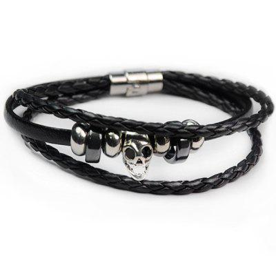 Faux Leather Rope Braid Skull Bracelet