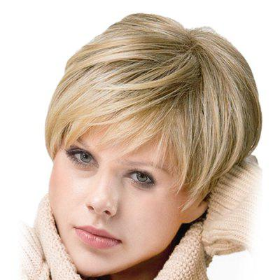 Inclined Bang Short Straight Colormix Synthetic Wig