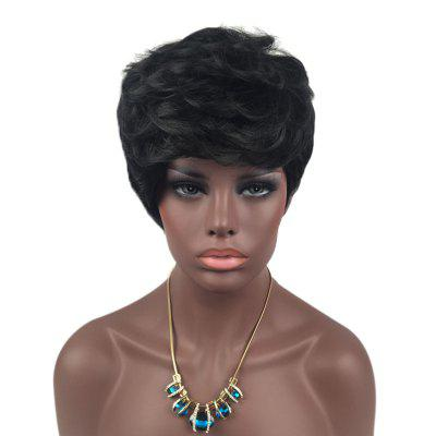 Short Layered Side Bang Slightly Curly Synthetic Wig