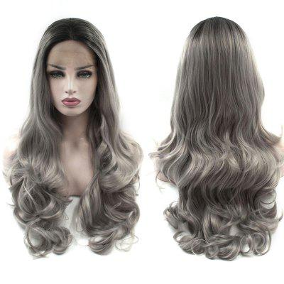 Long Center Parting Ombre Layered Wavy Lace Front Synthetic Wig