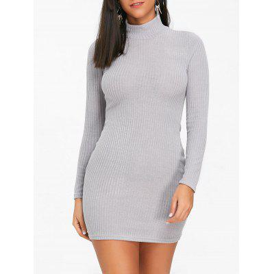 Buy GRAY M High Neck Knit Mini Bodycon Dress for $18.11 in GearBest store