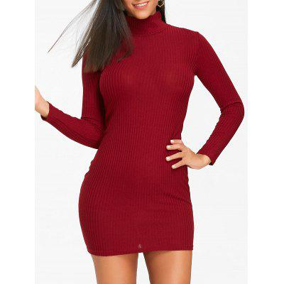 Buy WINE RED M High Neck Knit Mini Bodycon Dress for $18.11 in GearBest store