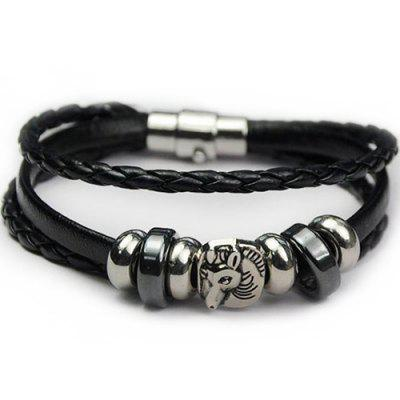 Faux Leather Braid Rope Horse Bracelet