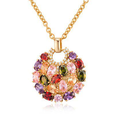 Faux Crystal Round Lock Pendant Necklace
