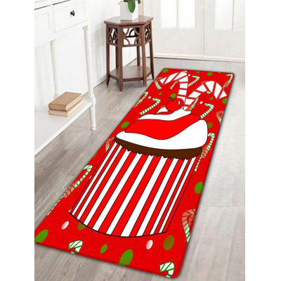 Christmas Cupcakes Pattern Skidproof Long Flannel Bath Rug