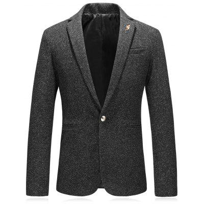 Lapel Edging Leaf Embellished Woolen Blazer