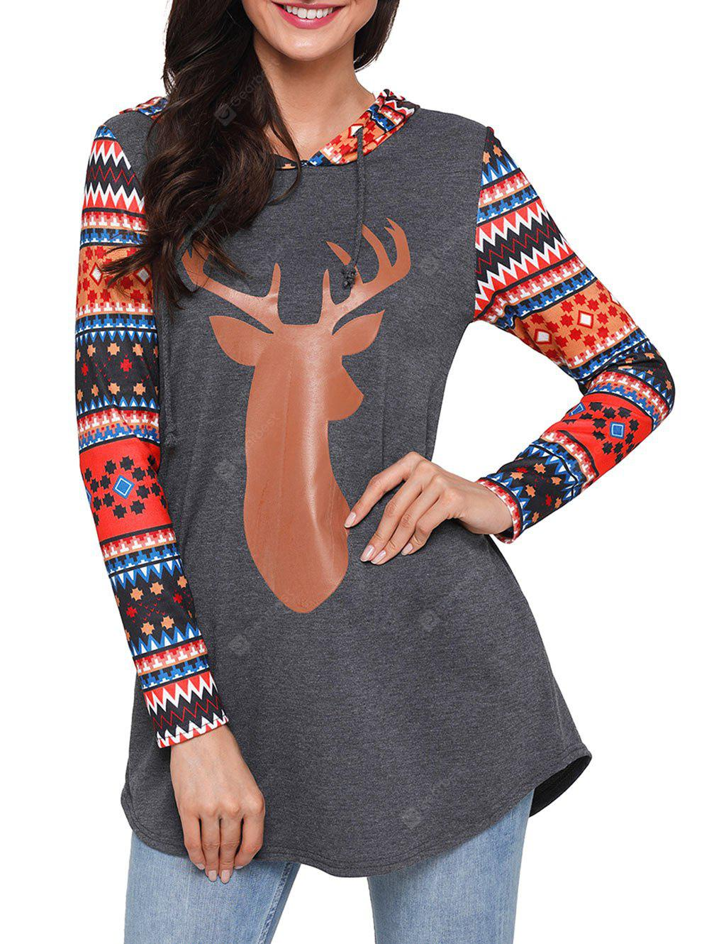 Christmas Deer and Geometric Patterned Tunic Hoodie