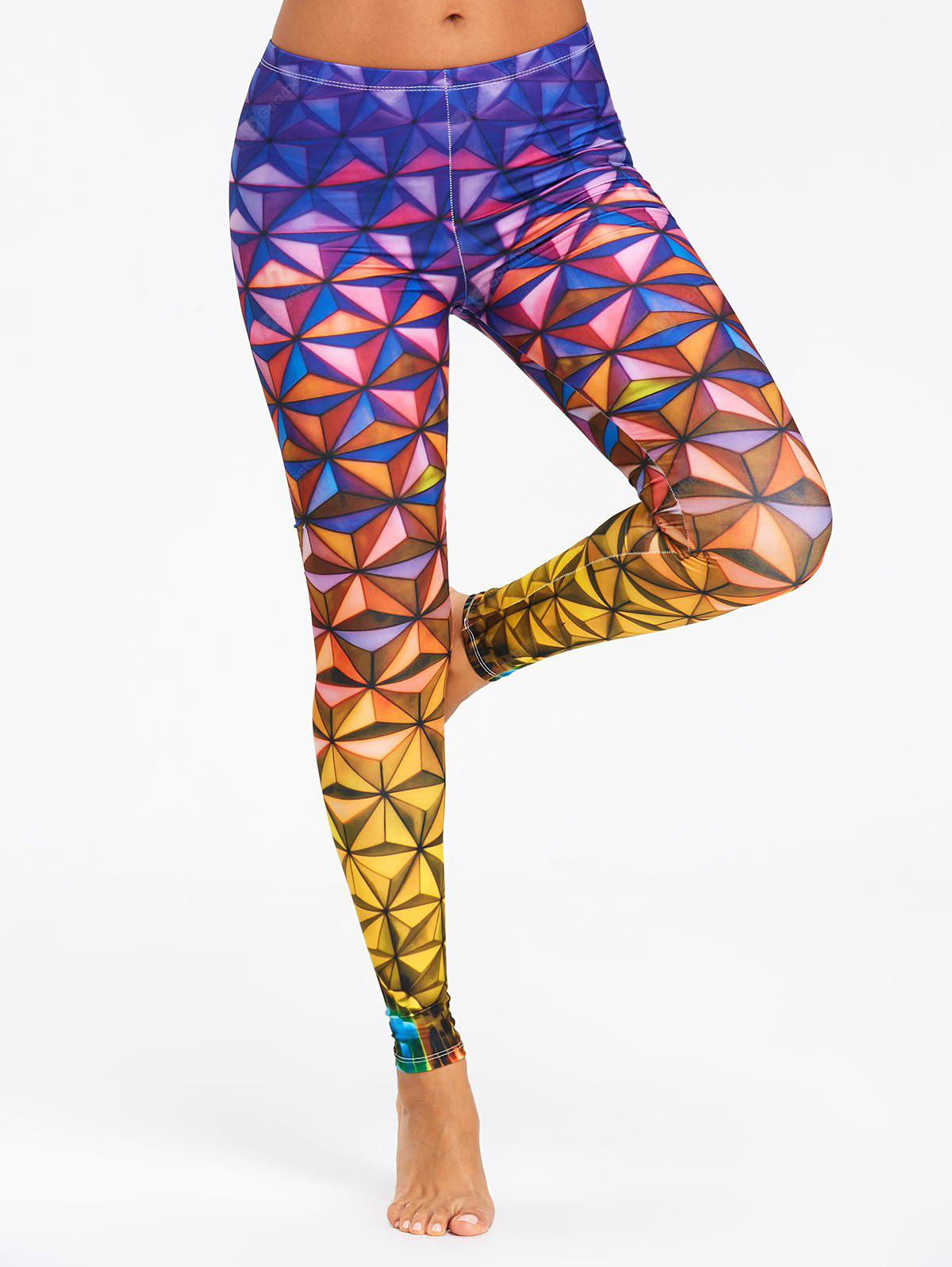 Geometric 3D Print Ombre Leggings
