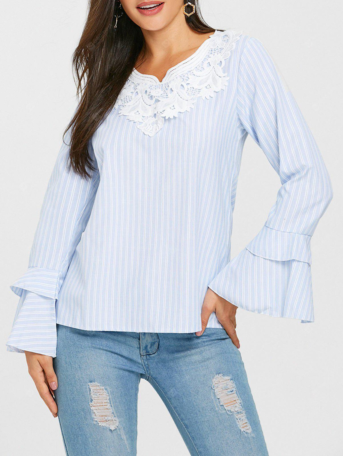 Lace Insert Bell Sleeve Striped Blouse