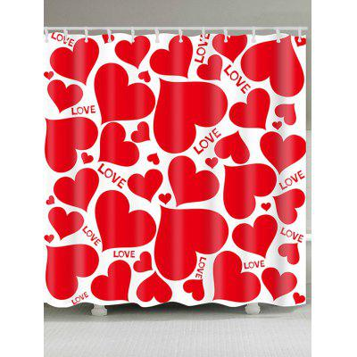 Valentine's Day Multi Hearts Pattern Waterproof Shower Curtain