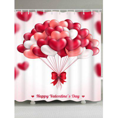 Heart Balloons Printed Valentine's Day Waterproof Shower Curtain