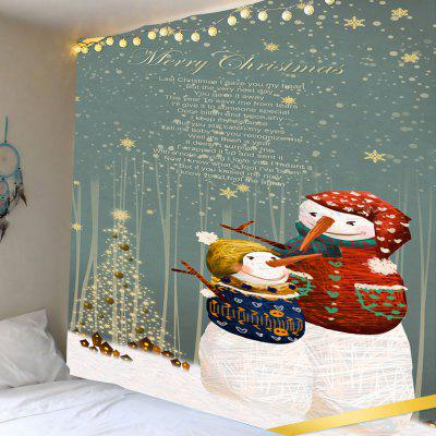 Snowy Christmas Snowmen Pattern Wall Art Tapestry