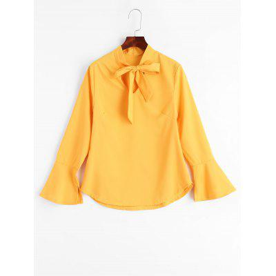 Buy YELLOW XL Slit Bell Sleeve Bow Tie Blouse for $18.17 in GearBest store