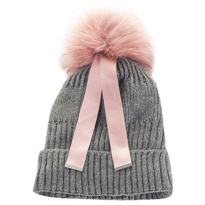 Cute Fuzzy Ball Embellished Knitted Ribbon Beanie Hat