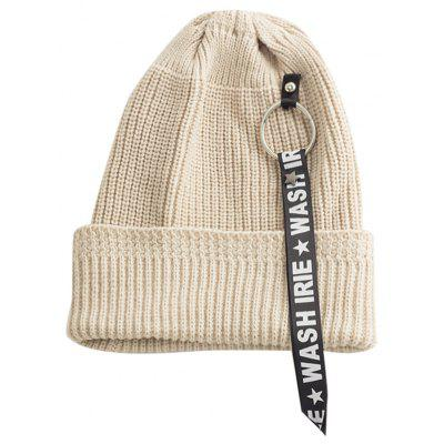Letter Printing Pattern Embellished Flanging Ribbon Beanie