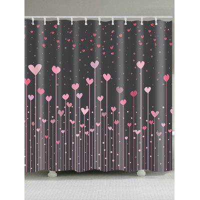 Valentine's Day Hearts Printed Waterproof Shower Curtain