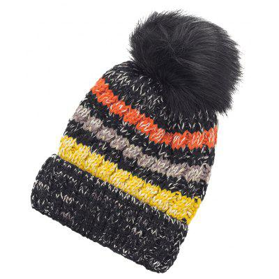Outdoor Striped Pattern Colormix Crochet Knitted Pom Beanie
