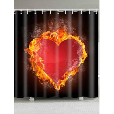 Valentine's Day Fire Heart Printed Waterproof Shower Curtain