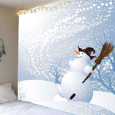 Snowman Broom Pattern Wall Art Tapestry