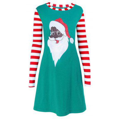 Striped Santa Claus Print Mini Christmas Dress