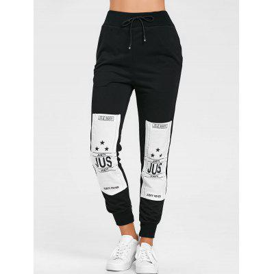 Drawstring Patched Graphic Sweatpants