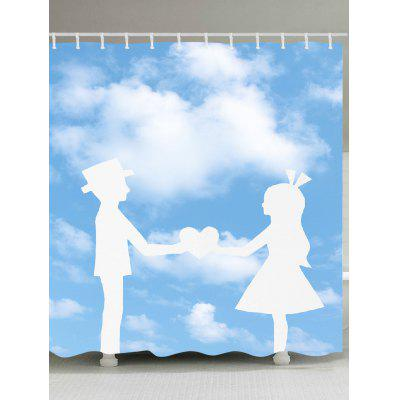 Hand in Hand Lovers Pattern Shower Curtain