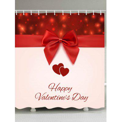 Valentine's Day BowKnot Hearts Pattern Shower Curtain
