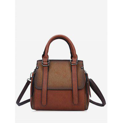 Faux Leather Contrasting Color Handbag
